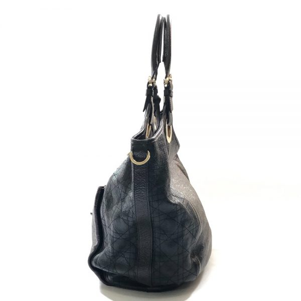 Christian Dior Black Leather Cannage Bee Tote