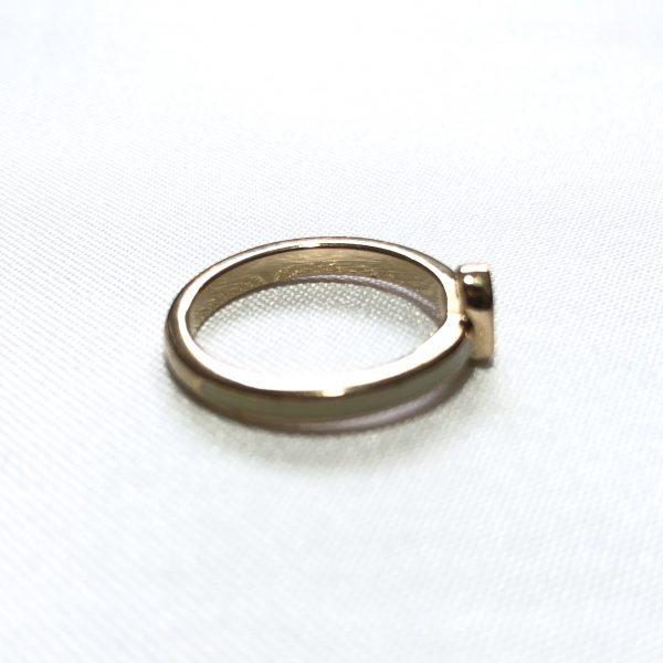 Christian Dior Heart Rhinestone Enamel Gold Plated Ring
