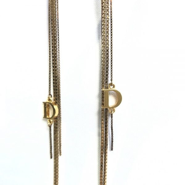Christian Dior Dangling Chain Logo Pink-Goldtone Earrings