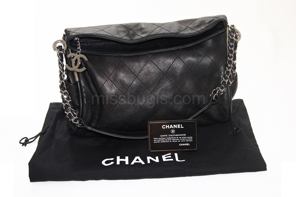 Chanel Black Quilted Lambskin Leather Small Ultimate Soft Bag