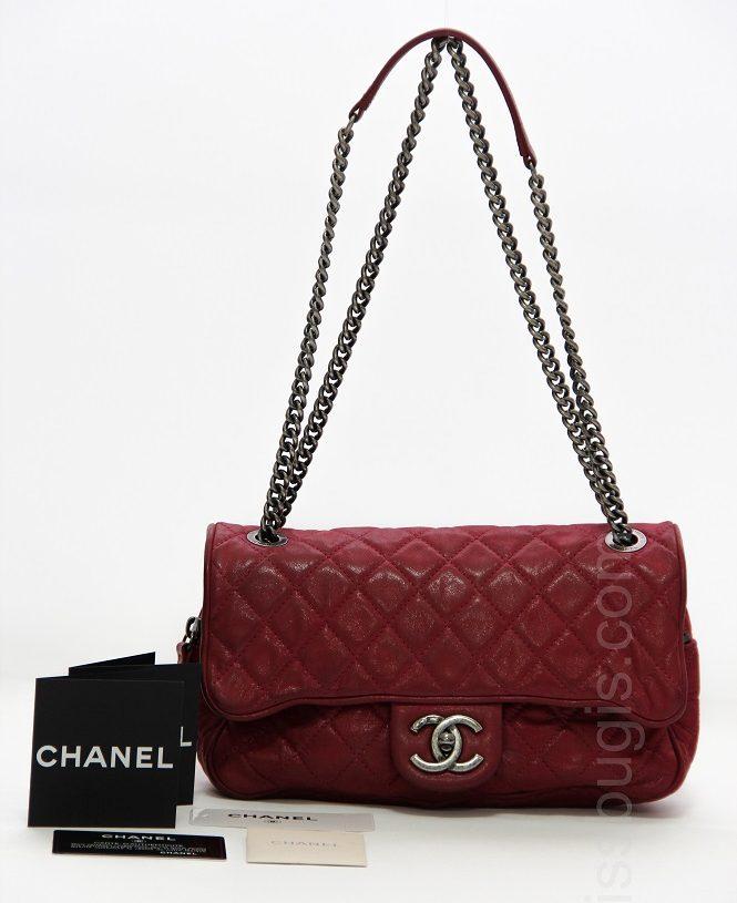 Chanel Fuchsia Metallic Leather Flap Bag