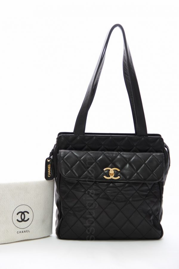 Chanel Black Quilted Lambskin Leather Tote