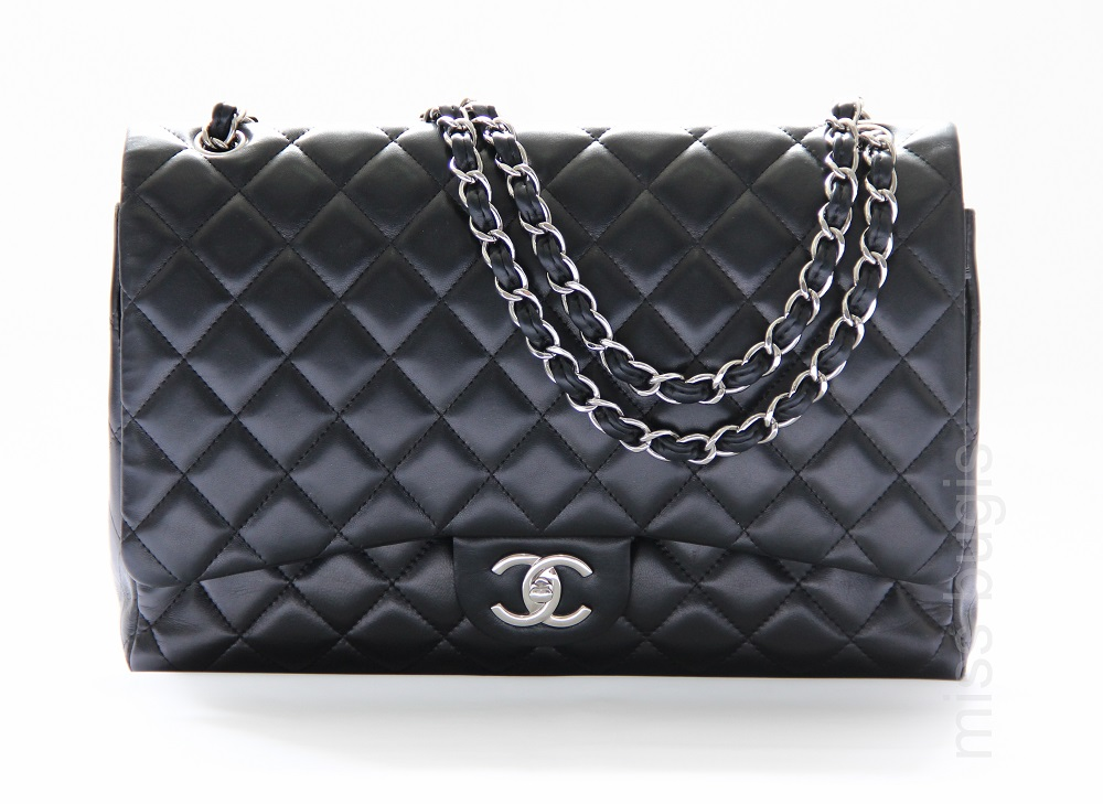 Chanel Black Quilted Lambskin Leather Classic Maxi Jumbo Double Flap Bag