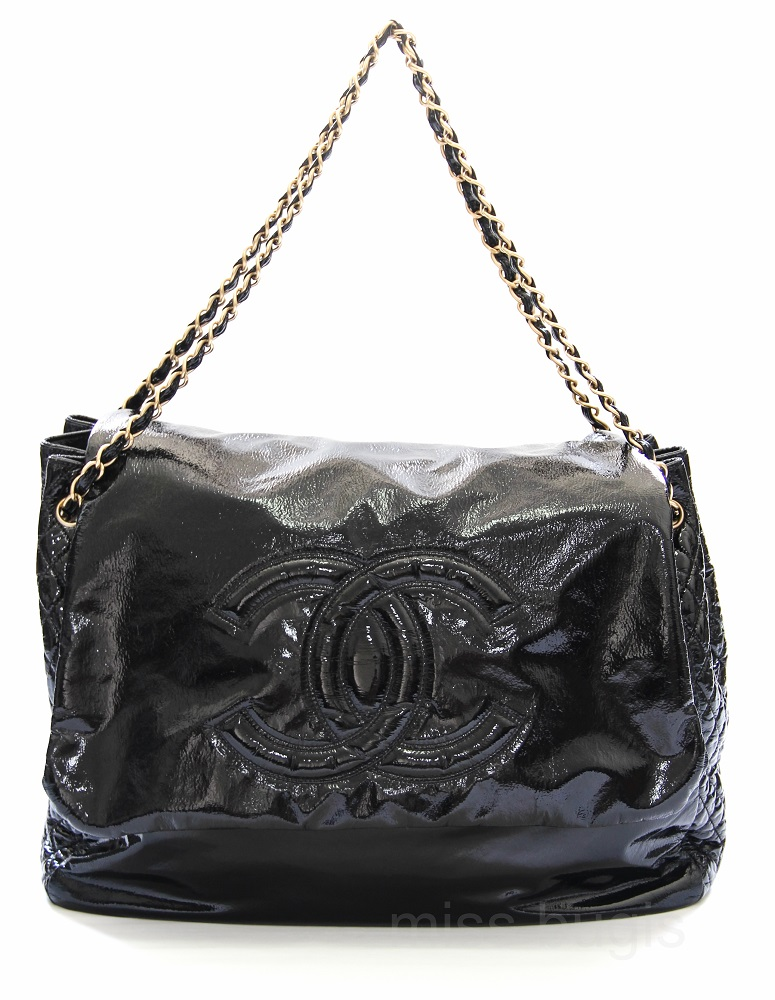 Chanel Black Rock And Chain Patent Leather XL Flap Bag