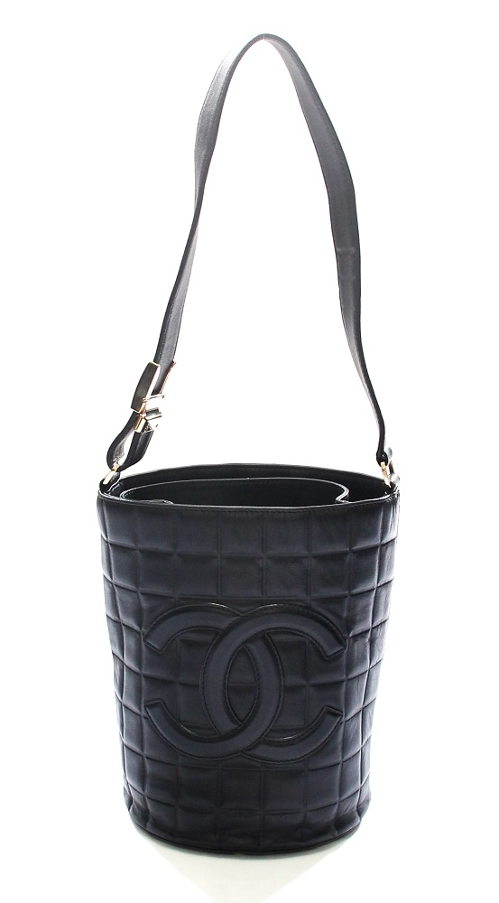 Chanel Black Chocolate Bar Lambskin Leather Bucket