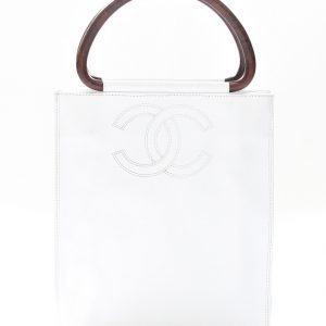 Chanel White Caviar Leather Burled Wood Handles Tote