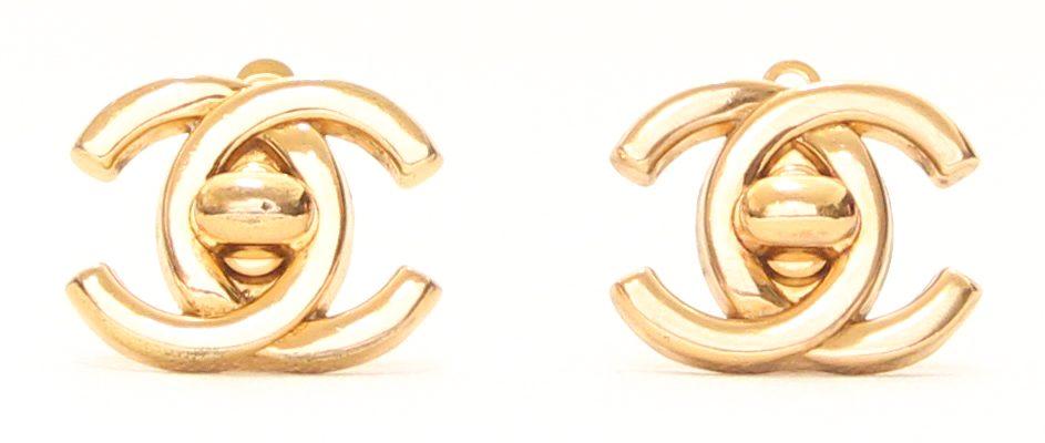 Chanel CC Turnlock Clip Earrings