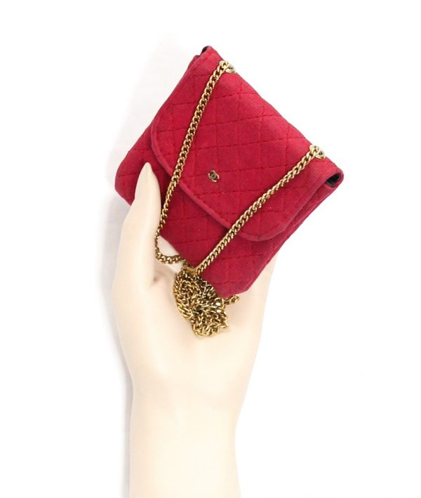 Chanel Red Quilted Jersey Pouch On Chain/Necklace