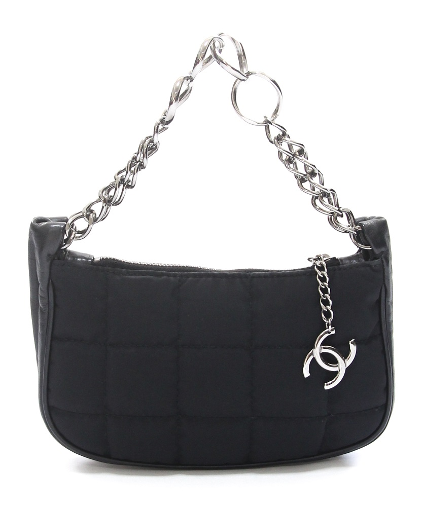Chanel Black Chocolate Bar Nylon Pochette