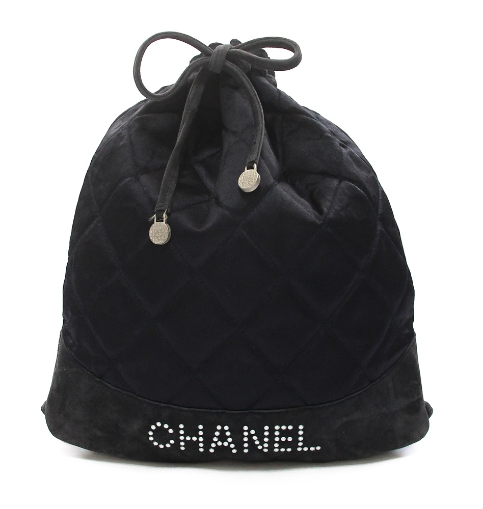 Chanel Black Quilted Fabric/Suede Backpack