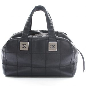 Chanel Black Square Quilted Caviar Leather Satchel
