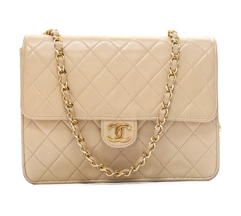 Chanel Beige Quilted Lambskin Leather Wallet On Chain