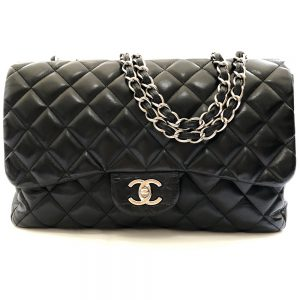 Chanel Black Quilted Lambskin Leather Classic Jumbo Single Flap Bag