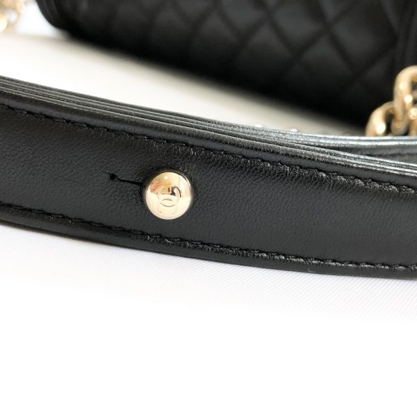 Chanel Black Quilted Lambskin Leather Old Medium Boy Flap Bag