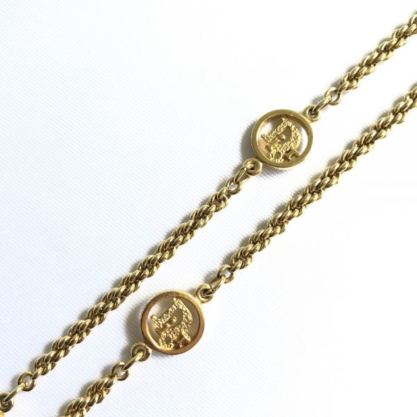 Christian Dior Logo Gold Plated Necklace