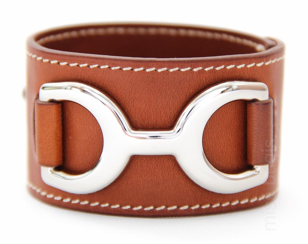 Hermes Pavane Palladium Leather Bracelet