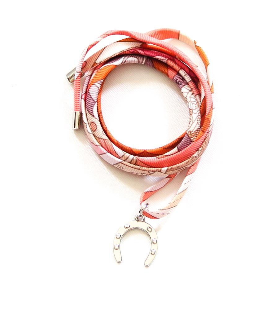 Hermes Tourbillon Silver Silk Bracelet/Necklace/Bag Charm