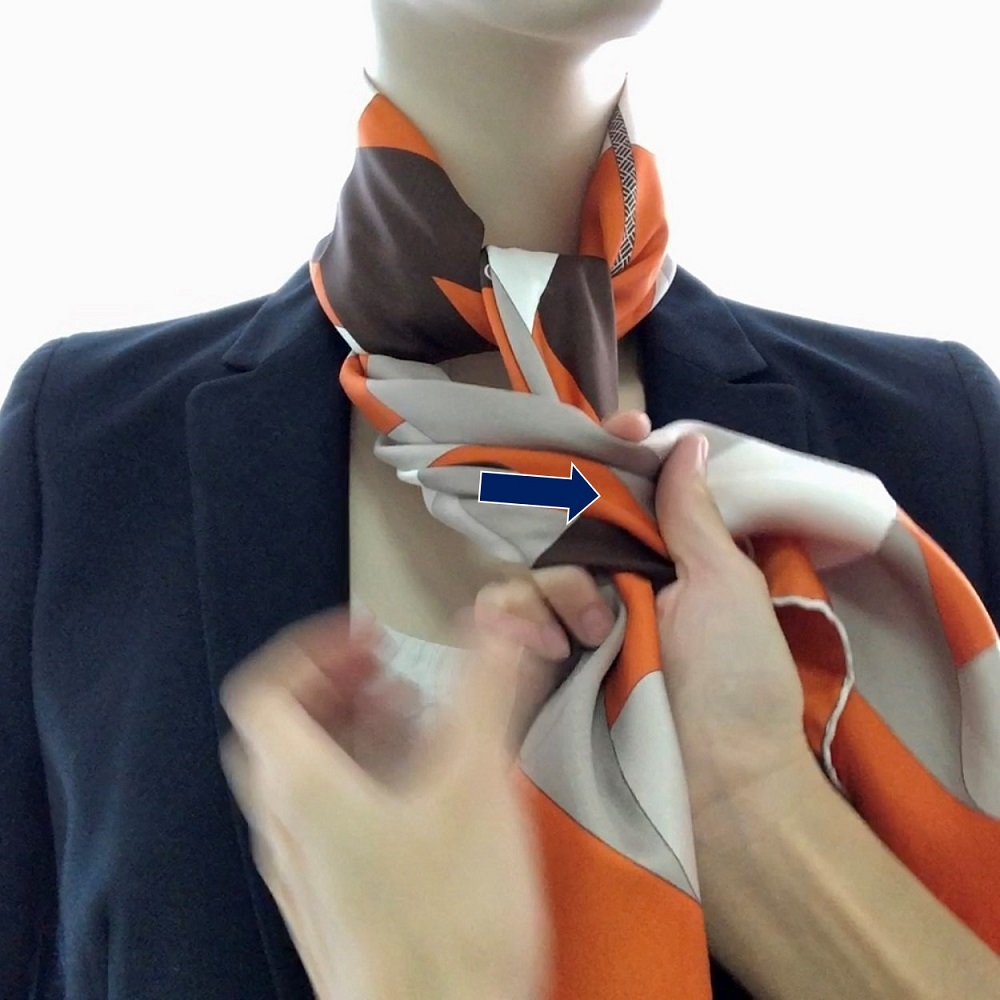 Hermes 90cm Silk Scarf Double Knot Square - Step 03