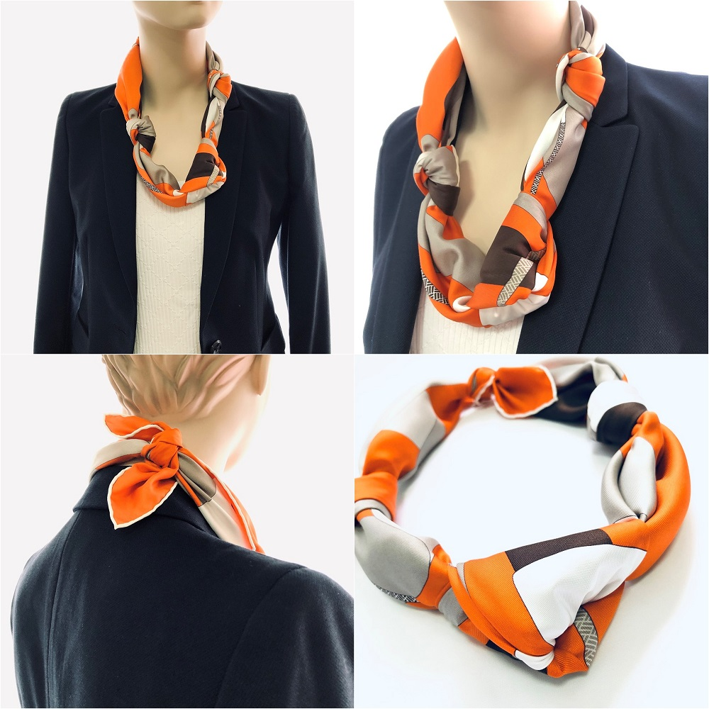 Hermes 90cm Silk Scarf Necklace