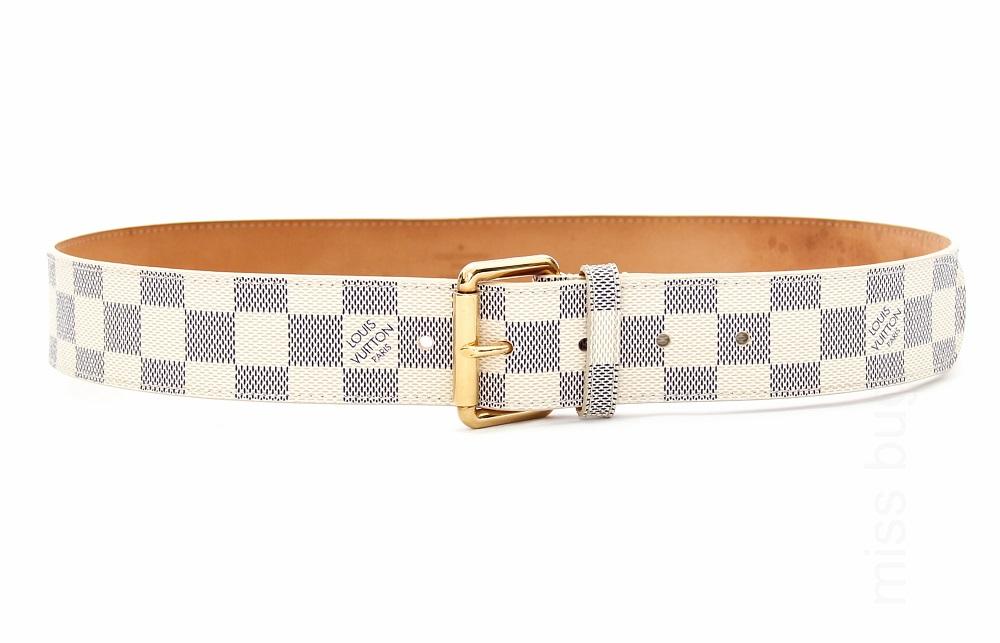 Louis Vuitton Damier Azur Canvas Leather Belt 85/34