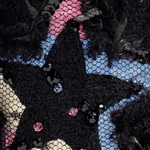 Chanel tweed, cotton, mixed fibers, sequins, glass pearls