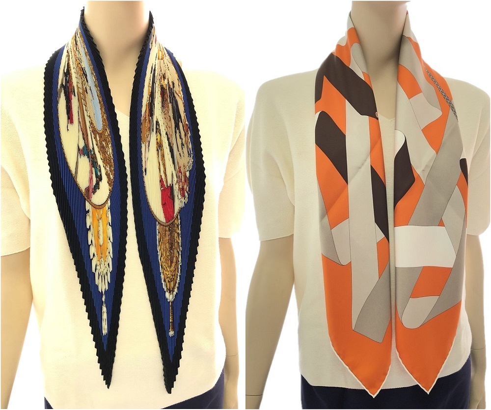 Hermes 90cm pleated silk scarf vs smooth scarf.