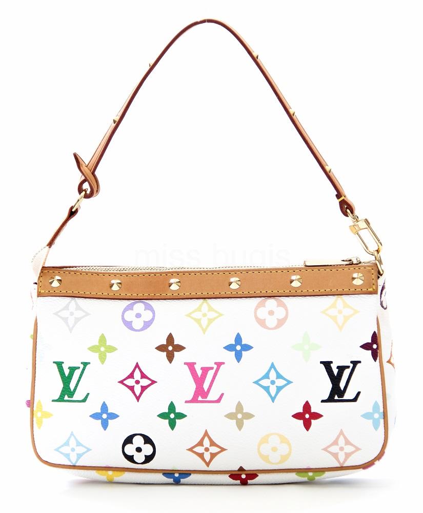 Louis Vuitton White Multicolore Canvas Takashi Murakami Pochette Accessoires