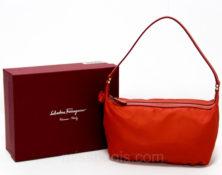 Salvatore Ferragamo Leather Handle Small Canvas Bag