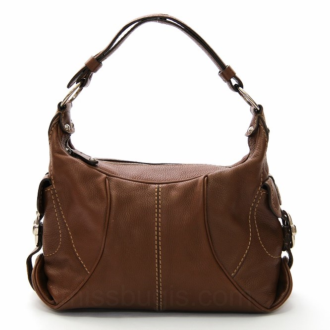 TOD'S Calfskin Pebble Leather Hobo Bag