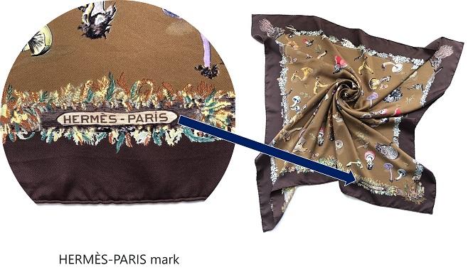 HERMÈS-PARIS mark on my sold 90cm Champignons Mushroom Silk Scarf.