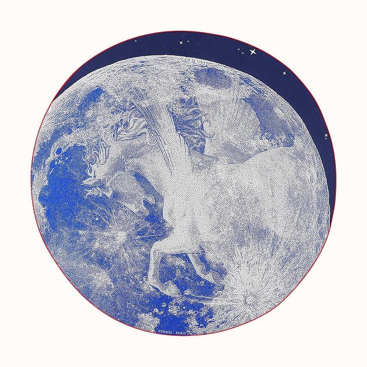 Hermes 140cm Round Scarf Clair De Lune
