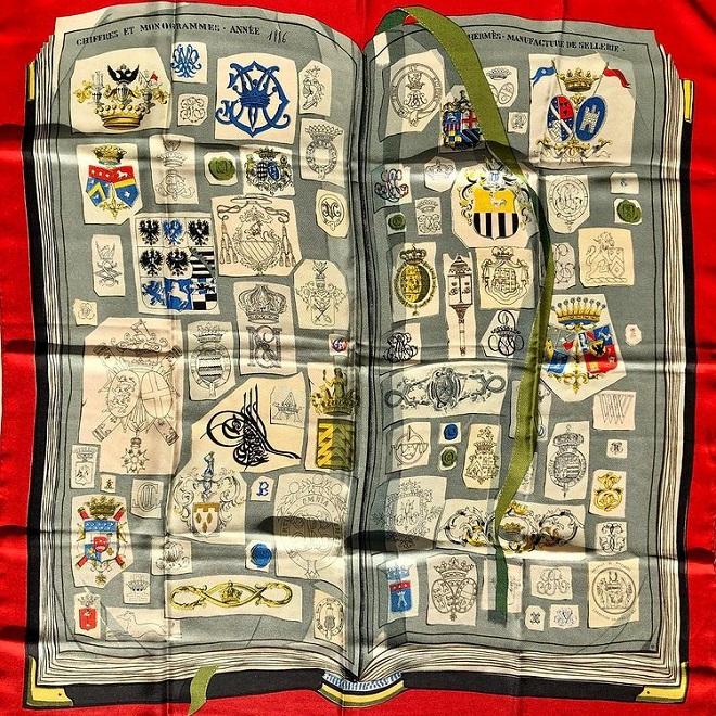 Hermes 90cm Square Scarf Chiffres ET Monogrammes