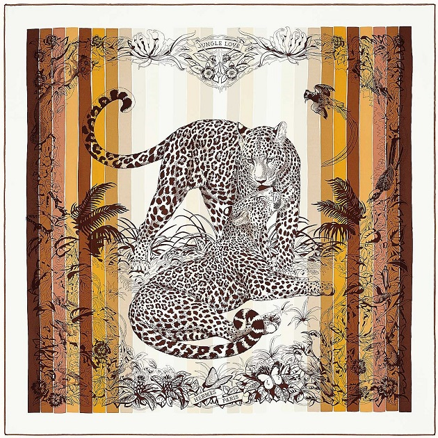 Hermes 90cm Square Scarf Jungle Love Rainbow