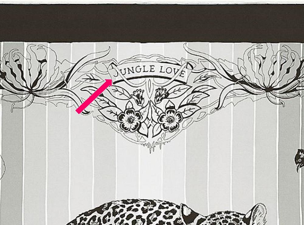 Hermes scarf title on Jungle Love Rainbow