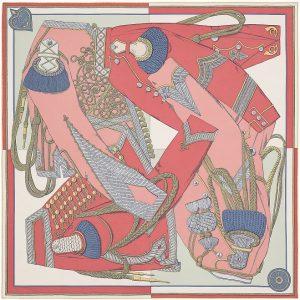 Hermes 90cm Square Scarf Zouaves et Dragons (Wash)