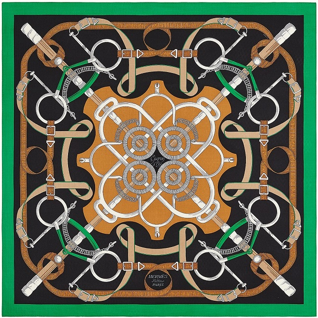 Hermes 140cm Square Scarf Eperon d'Or